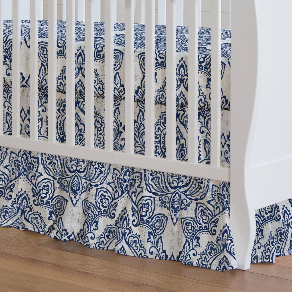 Product image for White and Navy Vintage Damask Crib Skirt Gathered