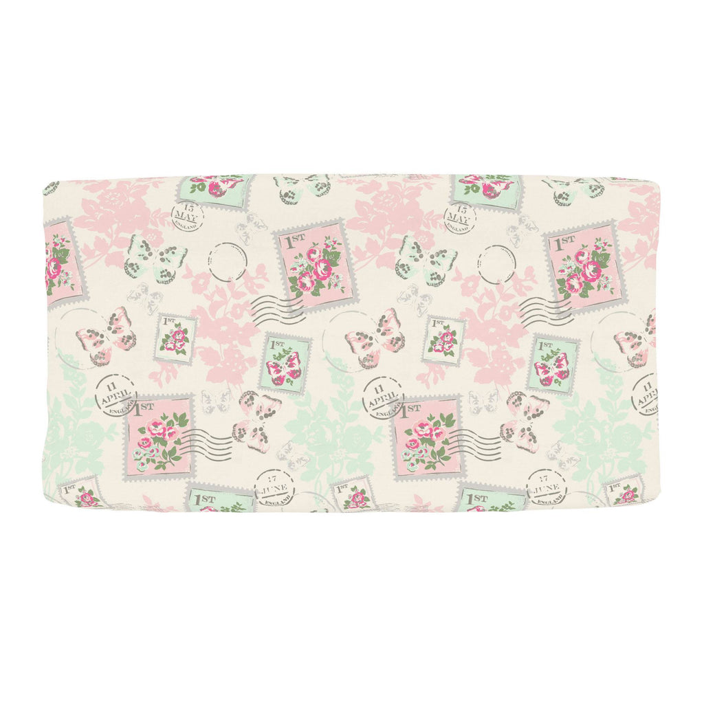 Product image for Blush and Ivory Vintage Stamp Changing Pad Cover