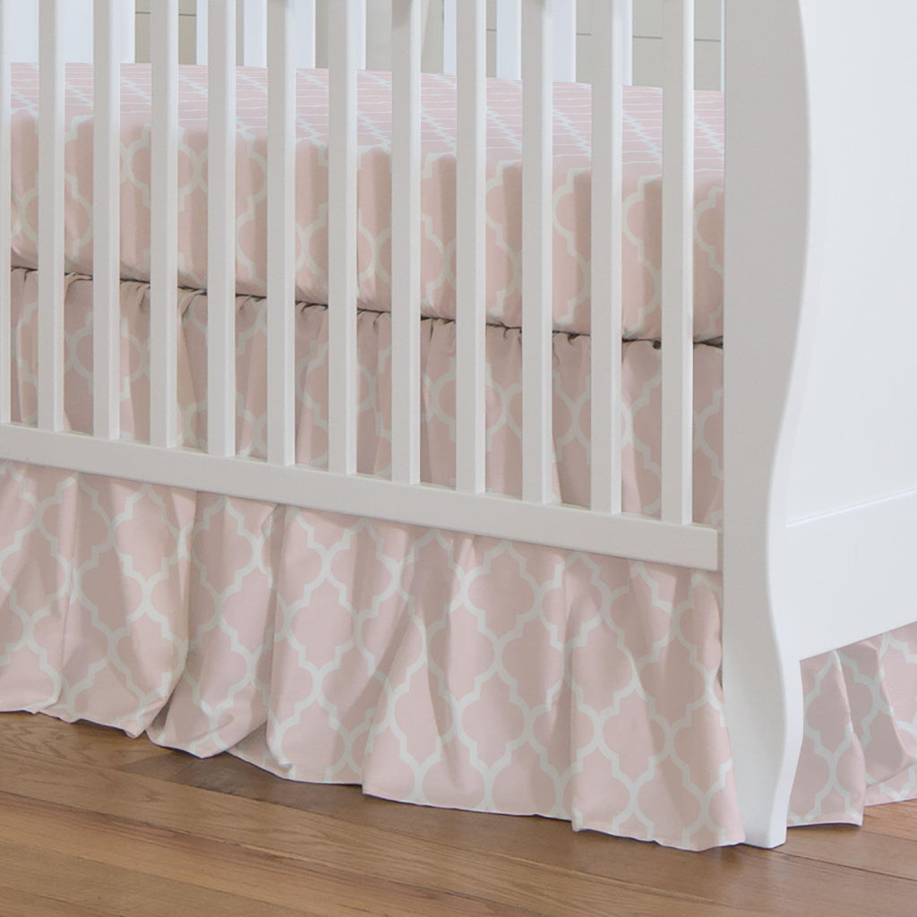 Product image for Blush Pink Hand Drawn Quatrefoil Crib Skirt Gathered