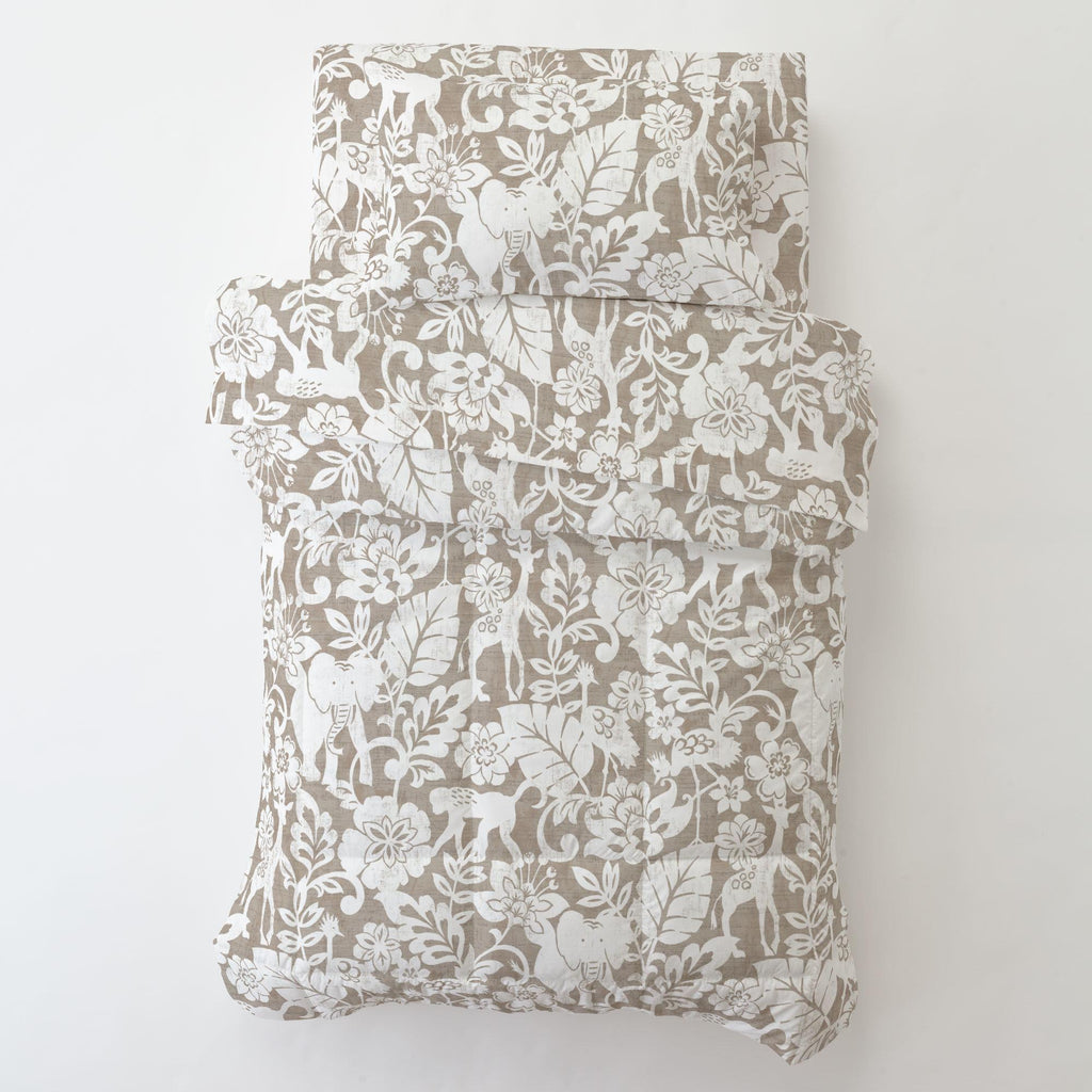 Product image for Taupe and White Jungle Toddler Comforter