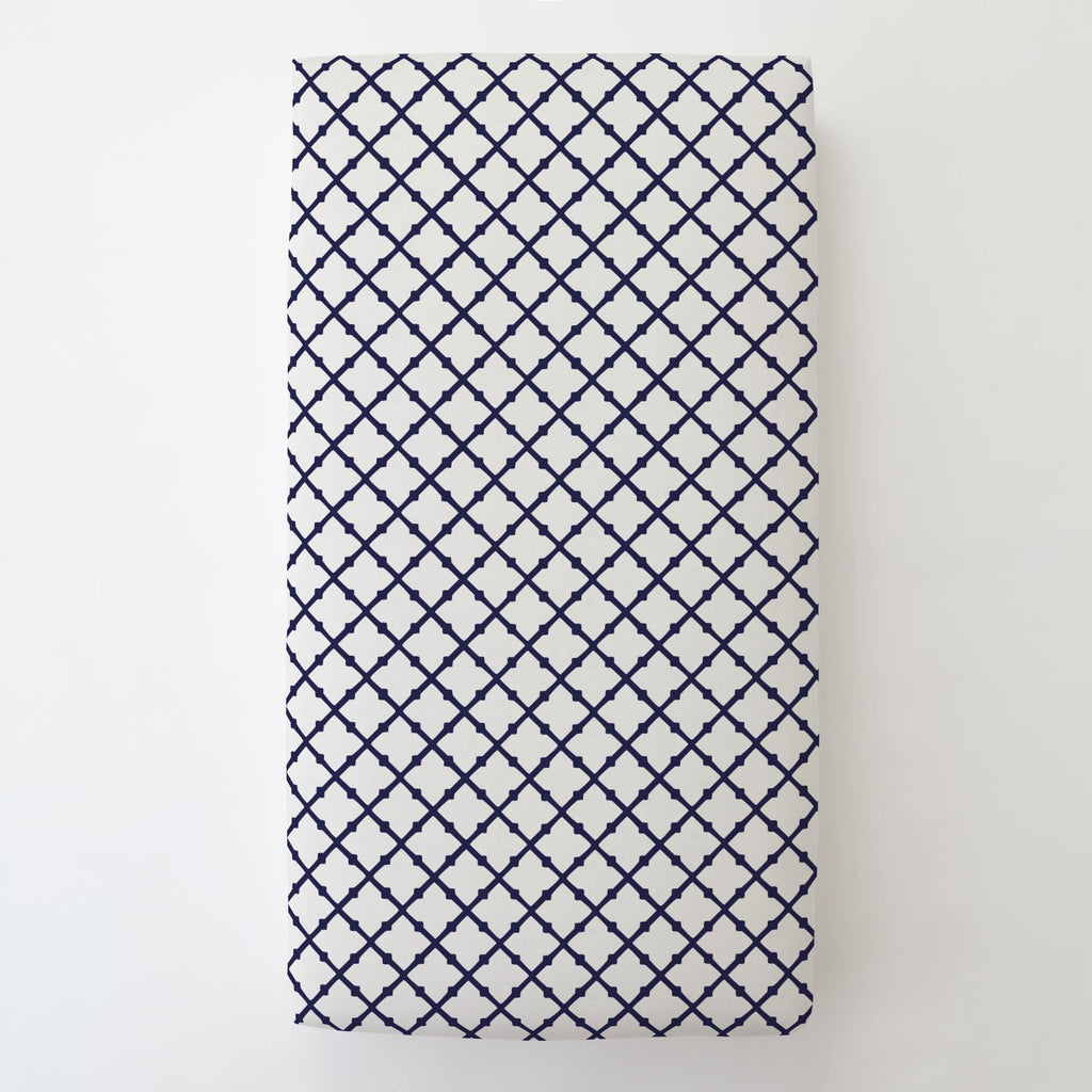 Product image for Windsor Navy Lattice Toddler Sheet Bottom Fitted