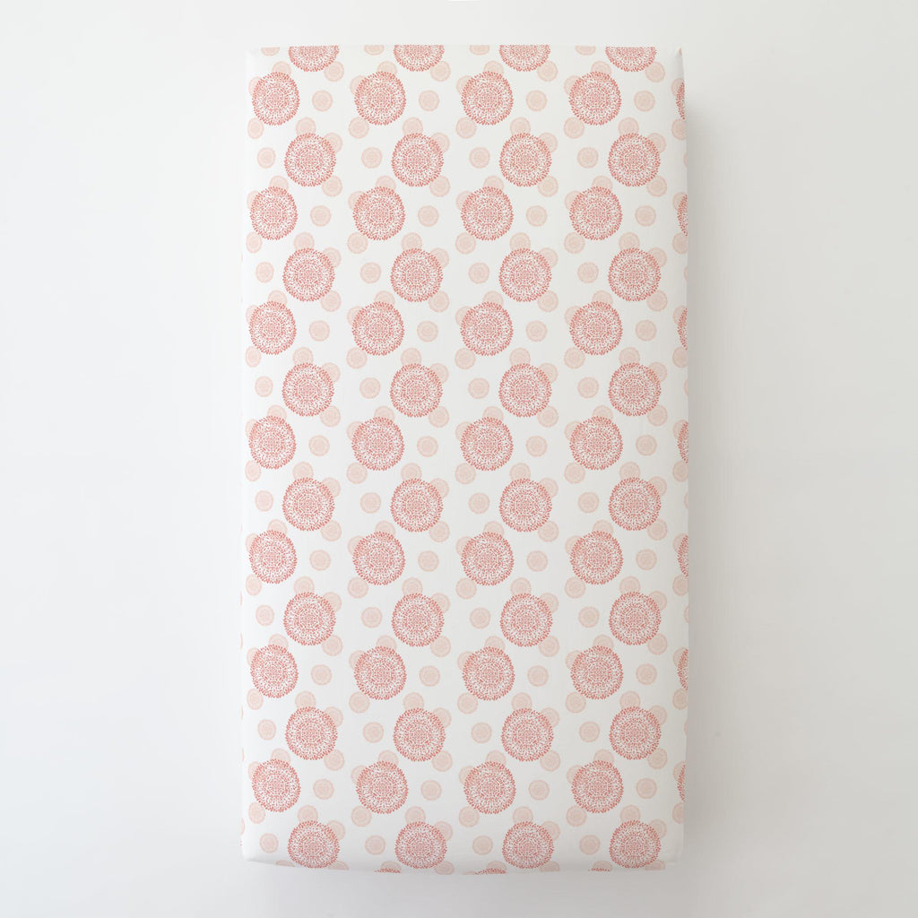 Product image for Light Coral and Peach Dandelion Toddler Sheet Bottom Fitted