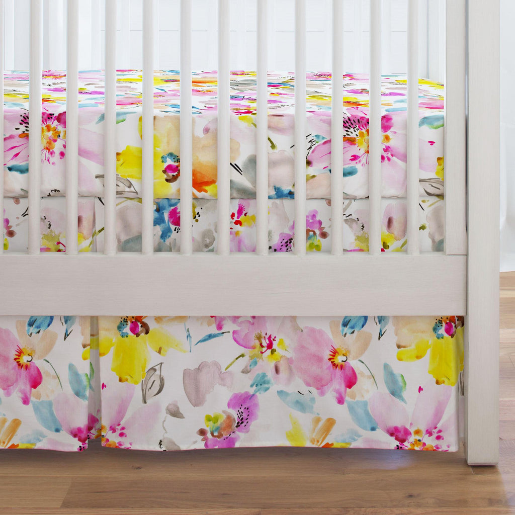 Product image for Watercolor Floral Crib Skirt Single-Pleat