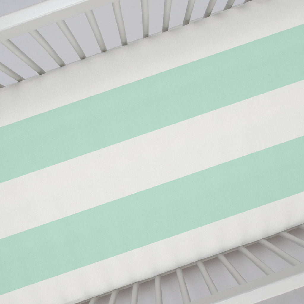 Product image for Icy Mint Horizontal Stripe Crib Sheet
