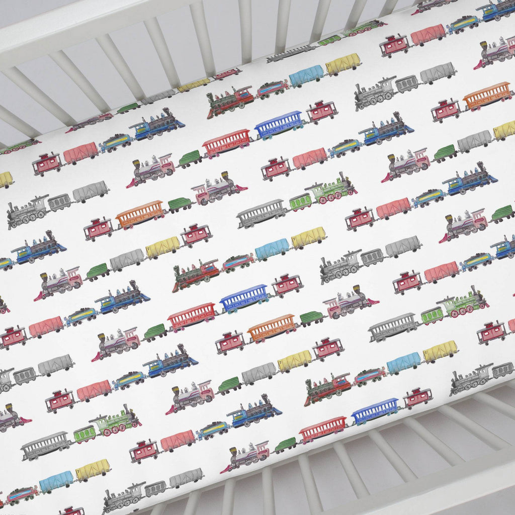 Product image for Watercolor Trains Crib Sheet