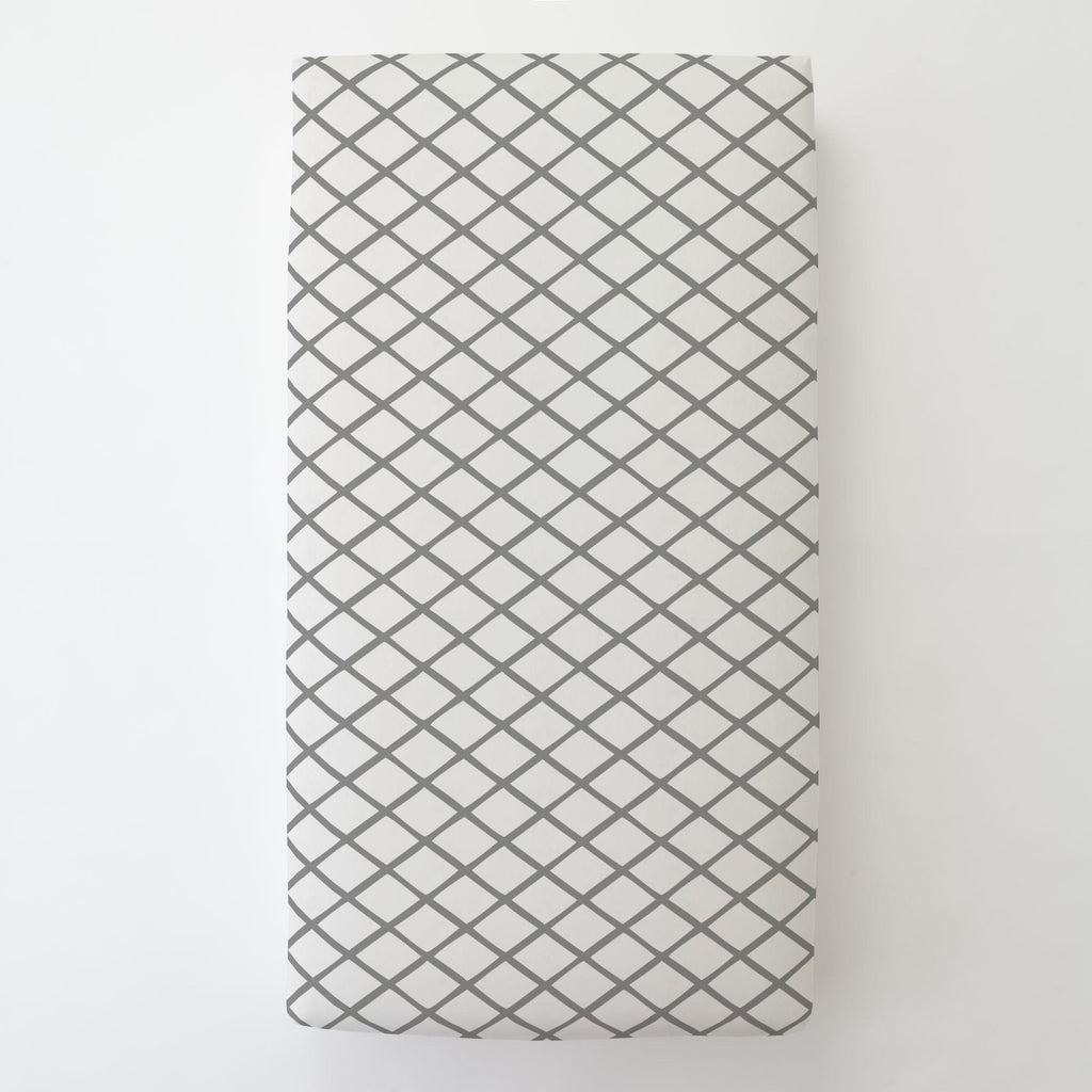 Product image for Cloud Gray Trellis Toddler Sheet Bottom Fitted