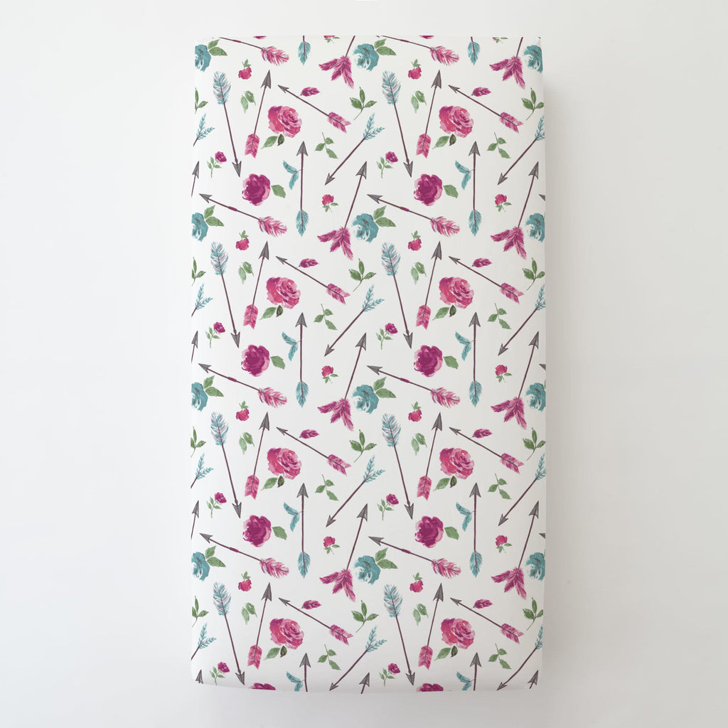 Product image for Floral Arrow Toddler Sheet Bottom Fitted