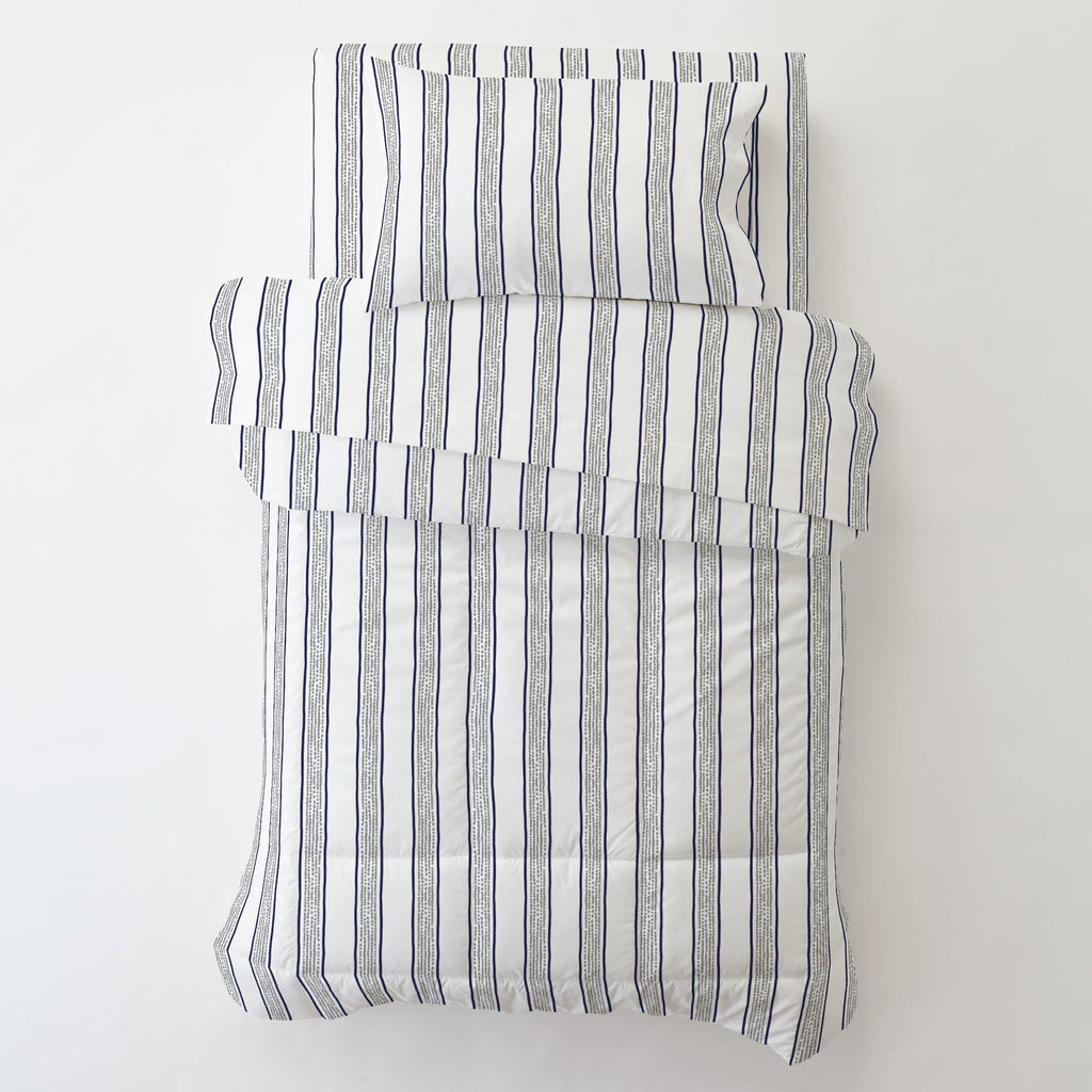 Product image for Navy and Gray Beach Stripe Toddler Comforter