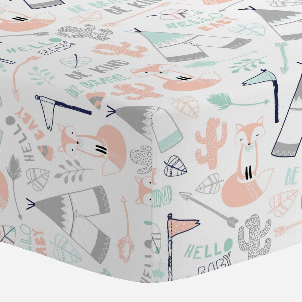 Product image for Peach Brave Fox Mini Crib Sheet