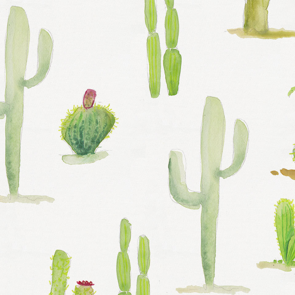 Product image for Watercolor Cactus and Green Painted Diamond Drape Panel with Ties