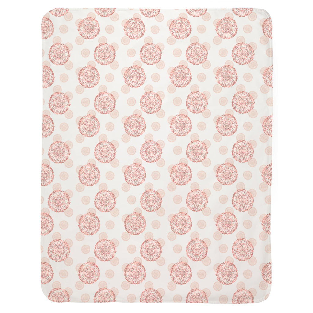 Product image for Light Coral and Peach Dandelion Baby Blanket