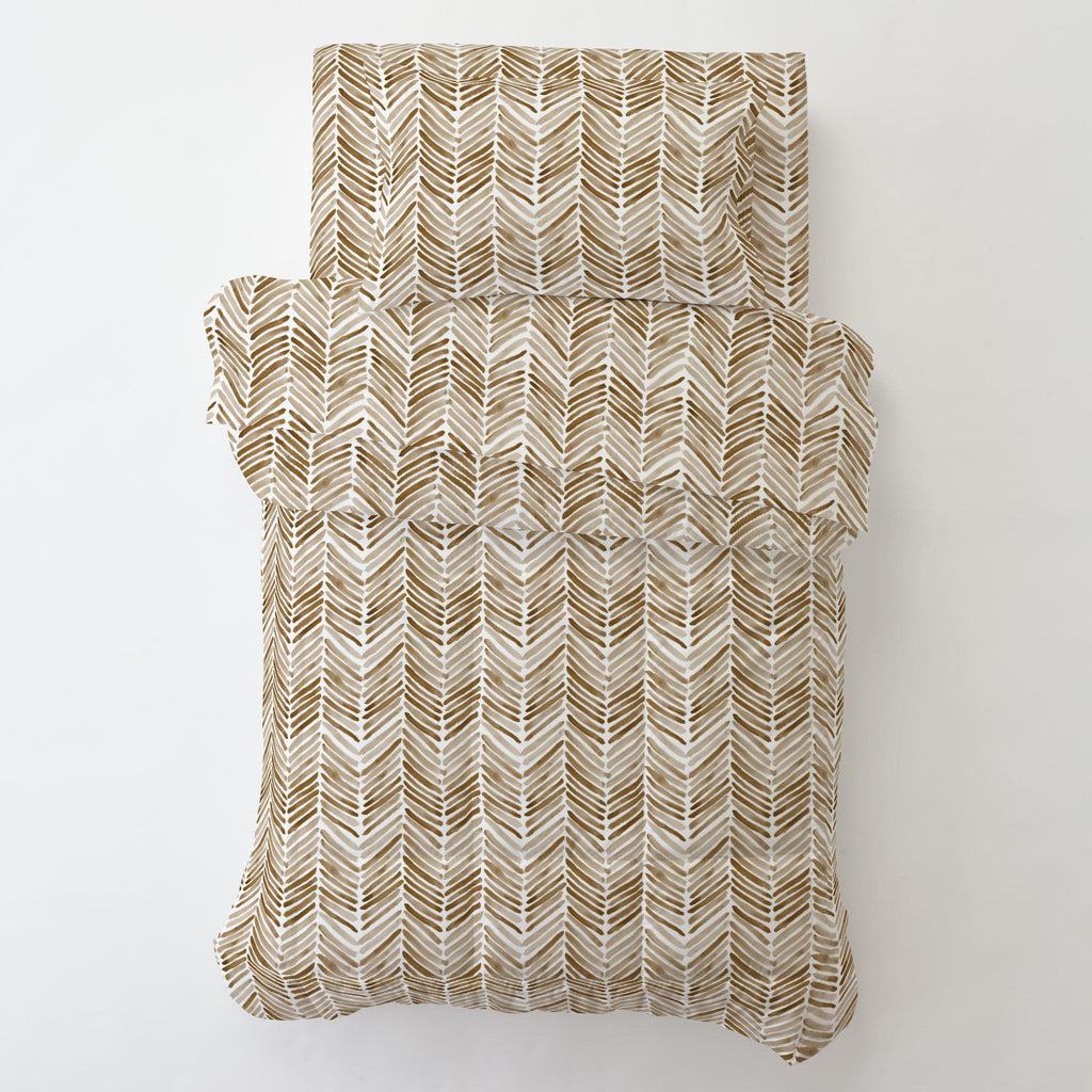 Product image for Caramel Painted Chevron Toddler Pillow Case with Pillow Insert