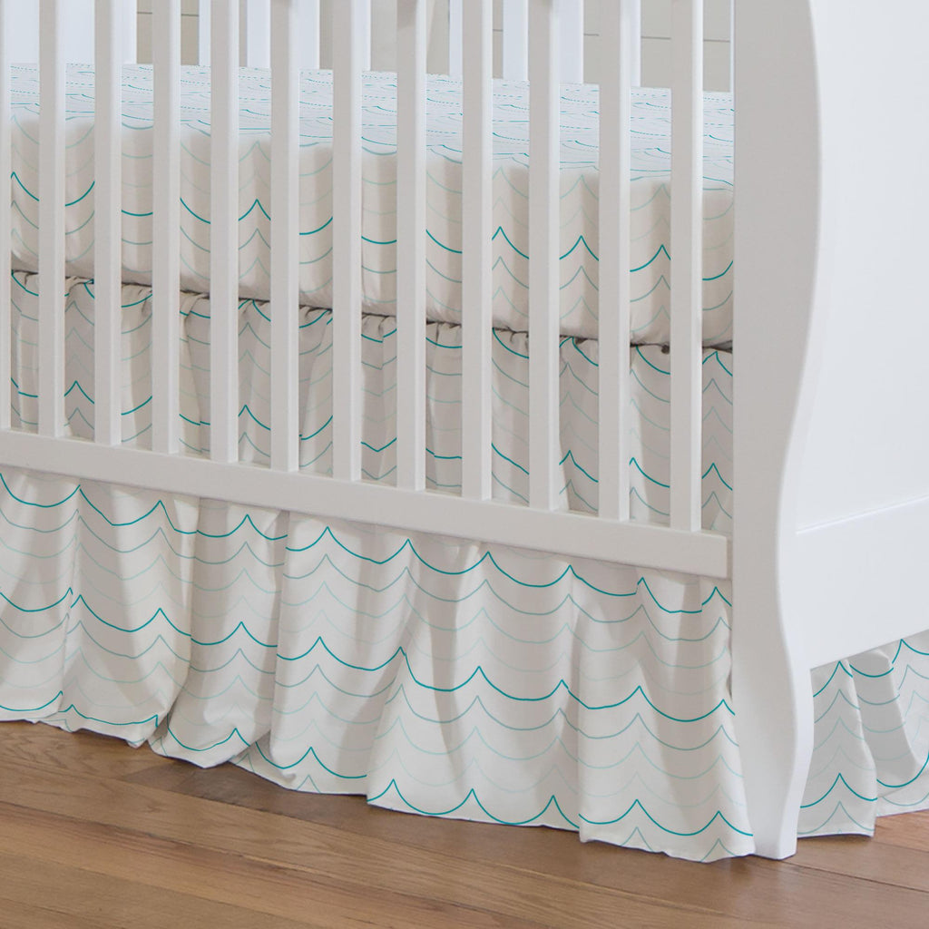Product image for Teal Wave Stripe Crib Skirt Gathered