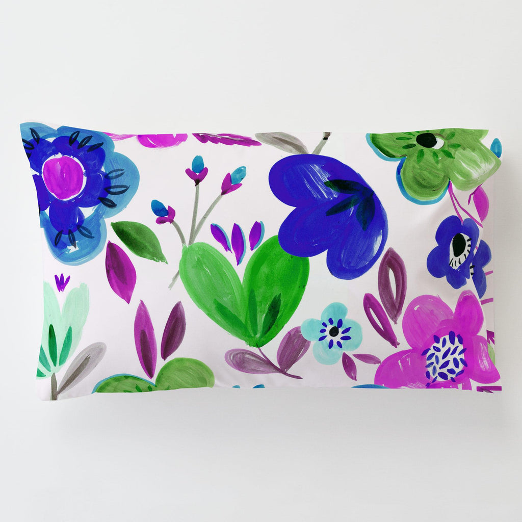 Product image for Purple Painted Flowers Toddler Pillow Case