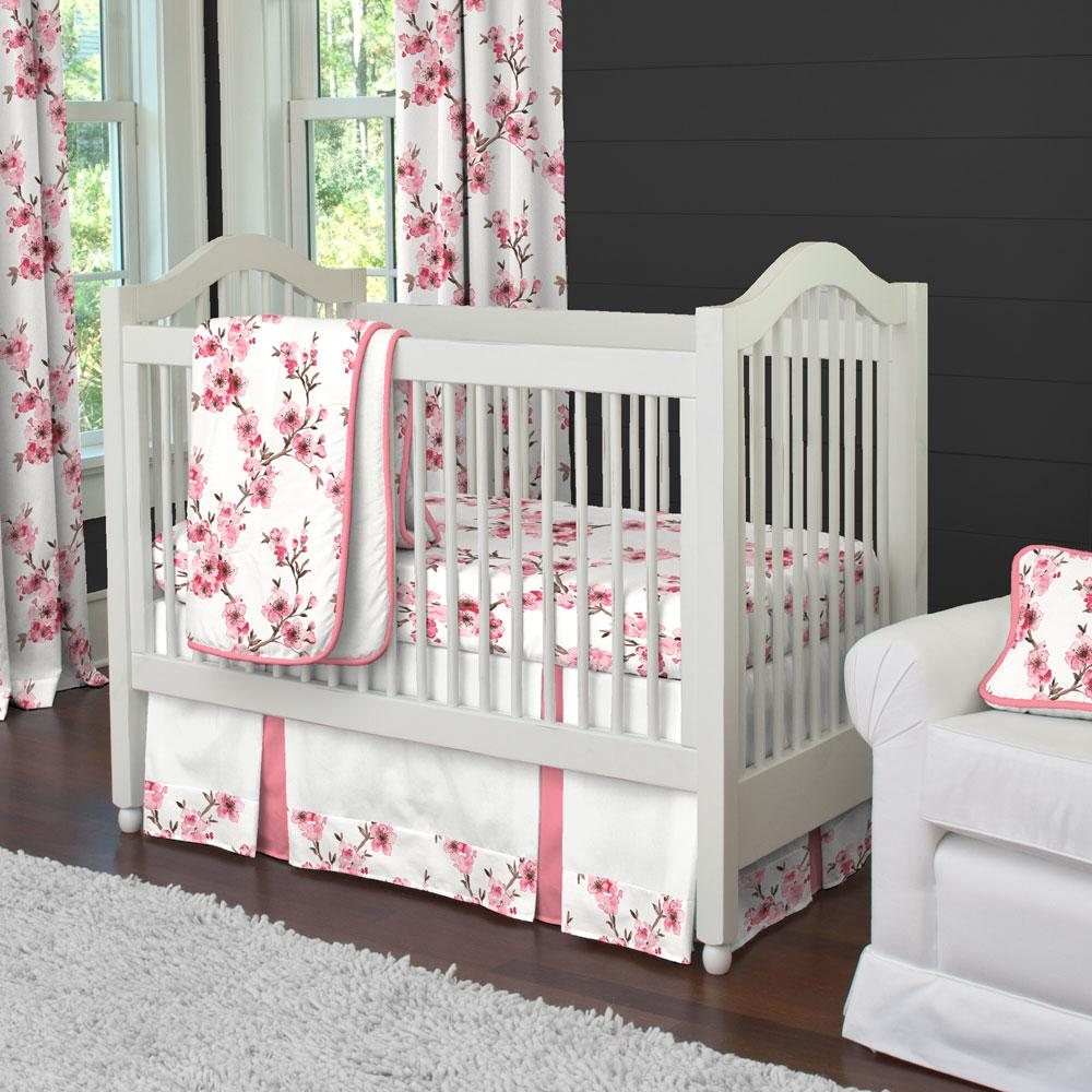 Product image for Pink Cherry Blossom Crib Comforter with Piping