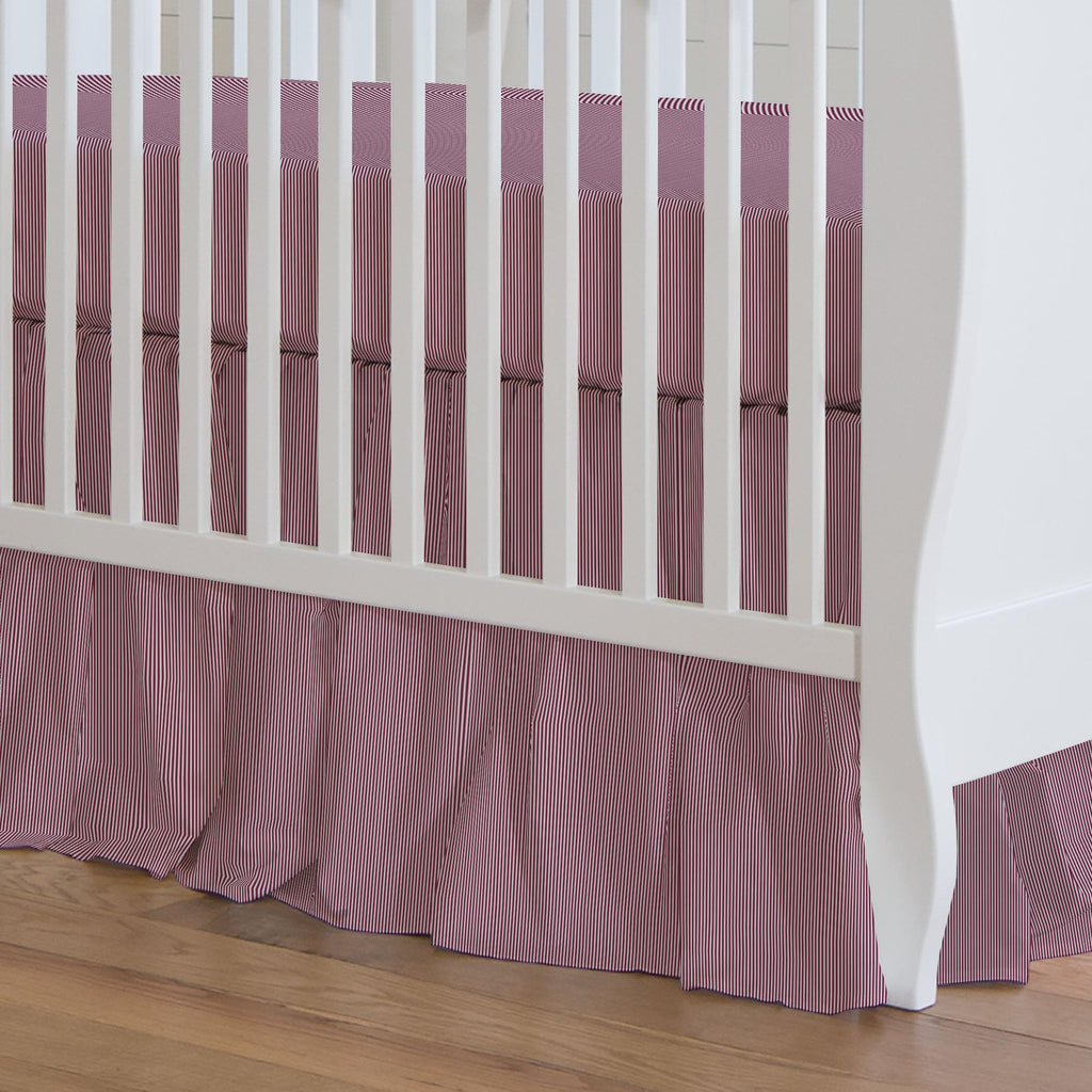 Product image for Maroon Mini Stripe Crib Skirt Gathered