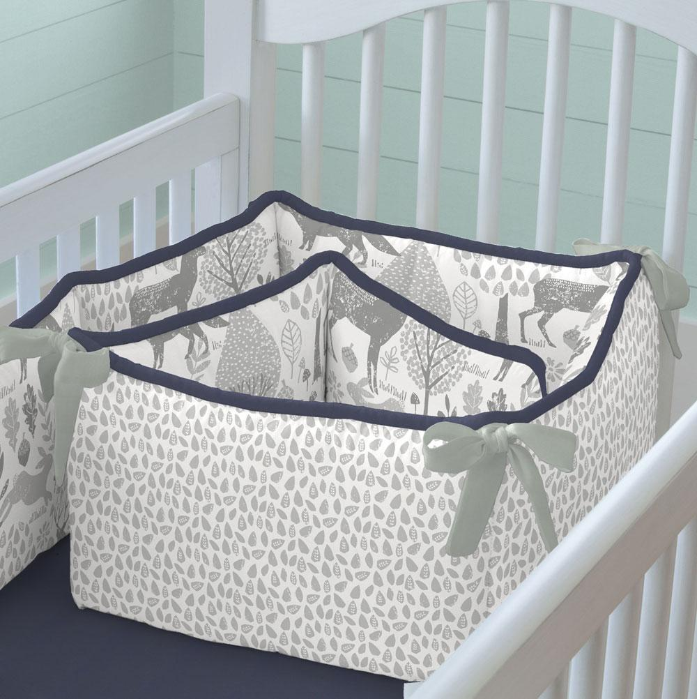 Product image for Navy and Gray Woodland Crib Bumper
