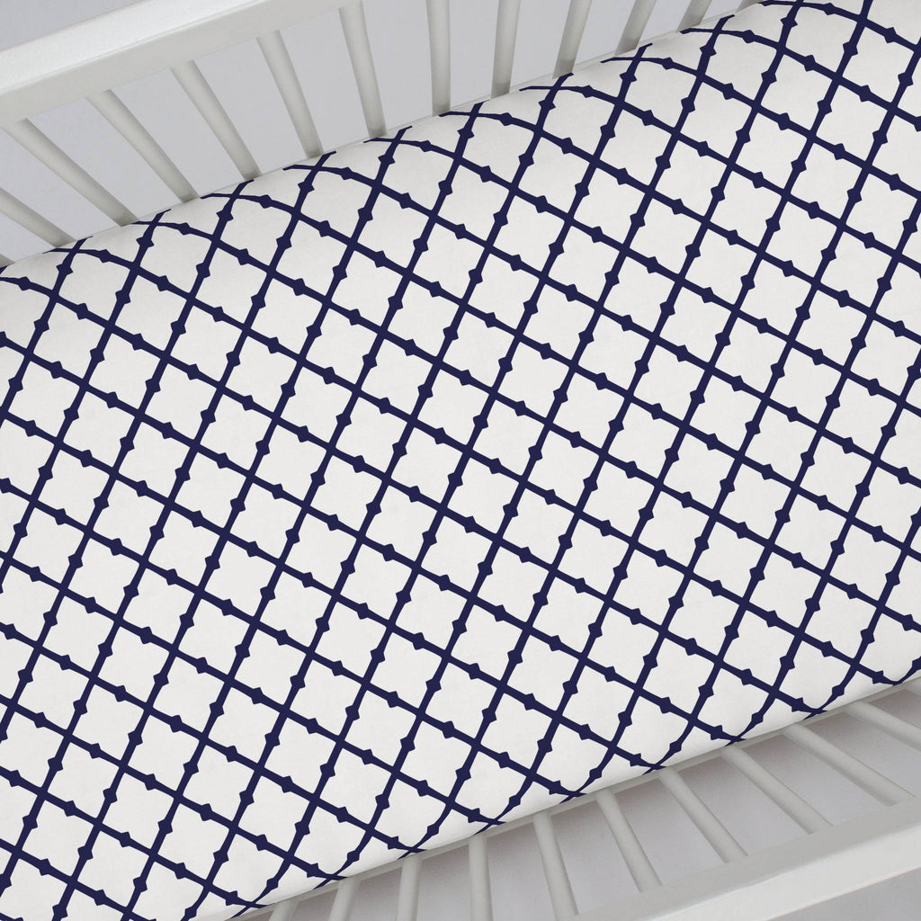 Product image for Windsor Navy Lattice Crib Sheet