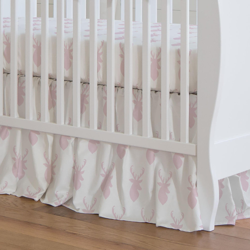 Product image for Pink Deer Head Crib Skirt Gathered