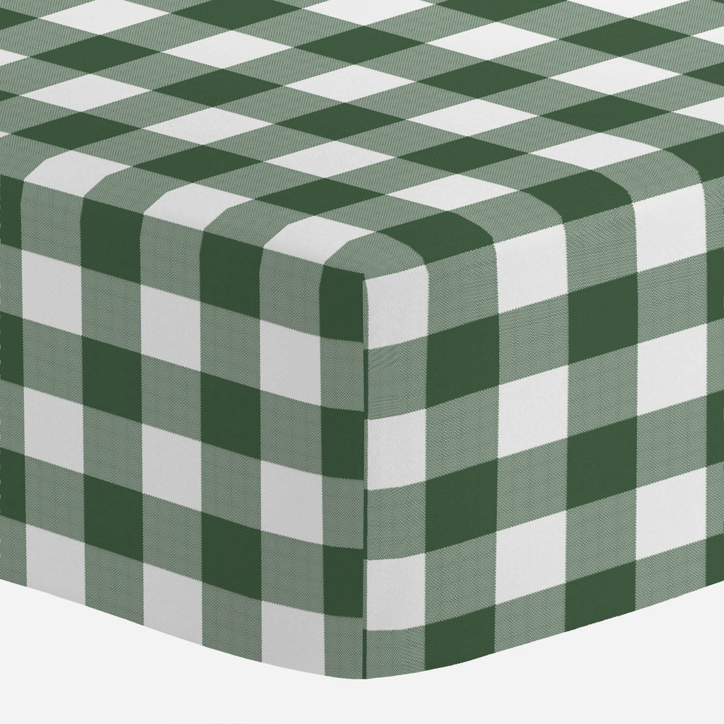 Product image for Evergreen Gingham Mini Crib Sheet