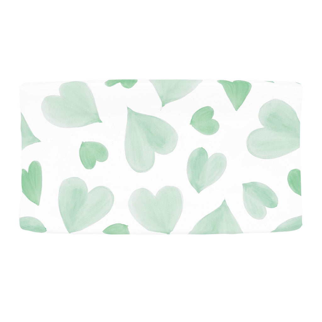 Product image for Mint Watercolor Hearts Changing Pad Cover