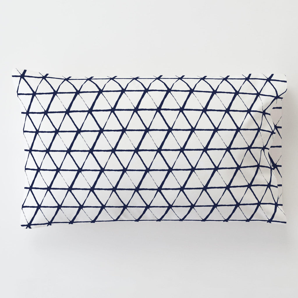 Product image for White and Navy Aztec Triangles Toddler Pillow Case