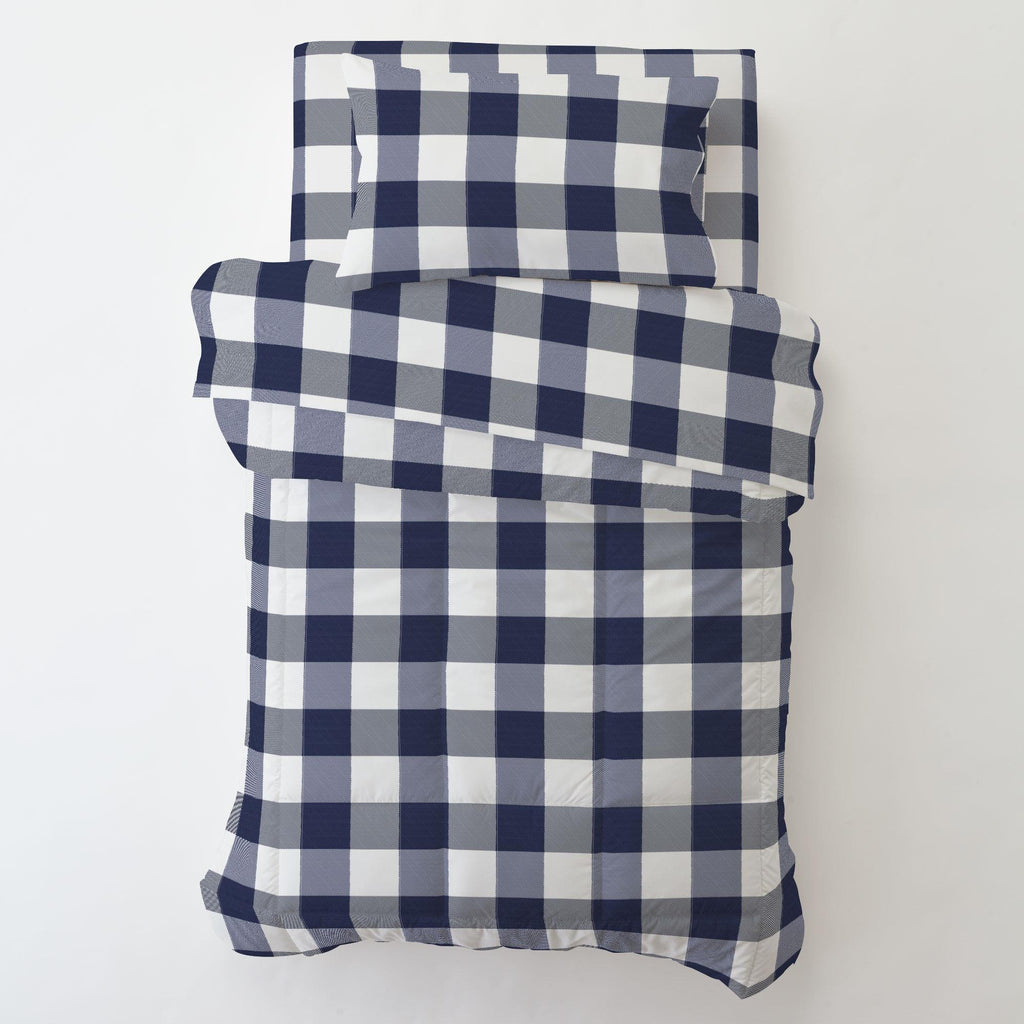 Product image for Navy and White Buffalo Check Toddler Pillow Case with Pillow Insert