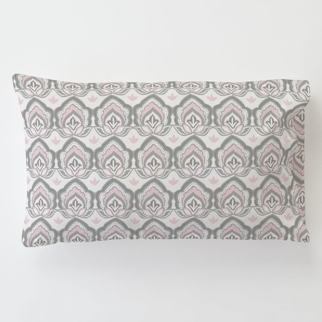 Product image for Pink and Gray Modern Floral Toddler Pillow Case