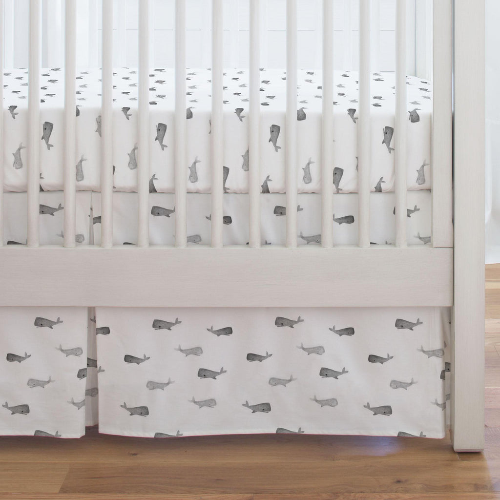Product image for Gray Whale of a Tale Crib Skirt Single-Pleat