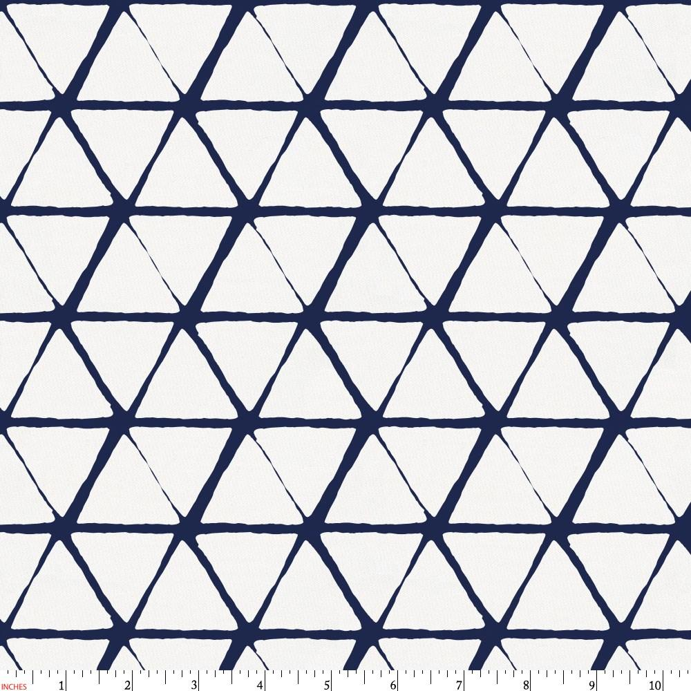 Product image for White and Navy Aztec Triangles Fabric
