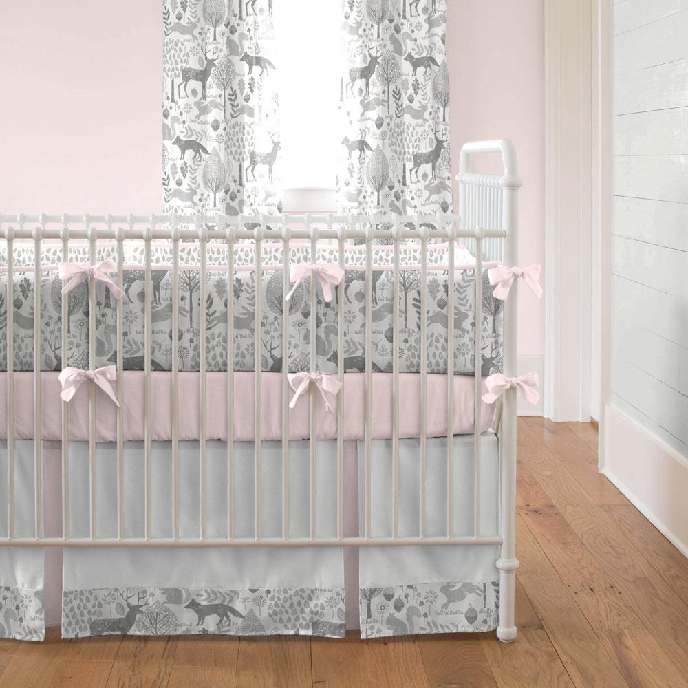 Product image for Pink and Gray Woodland Crib Bumper