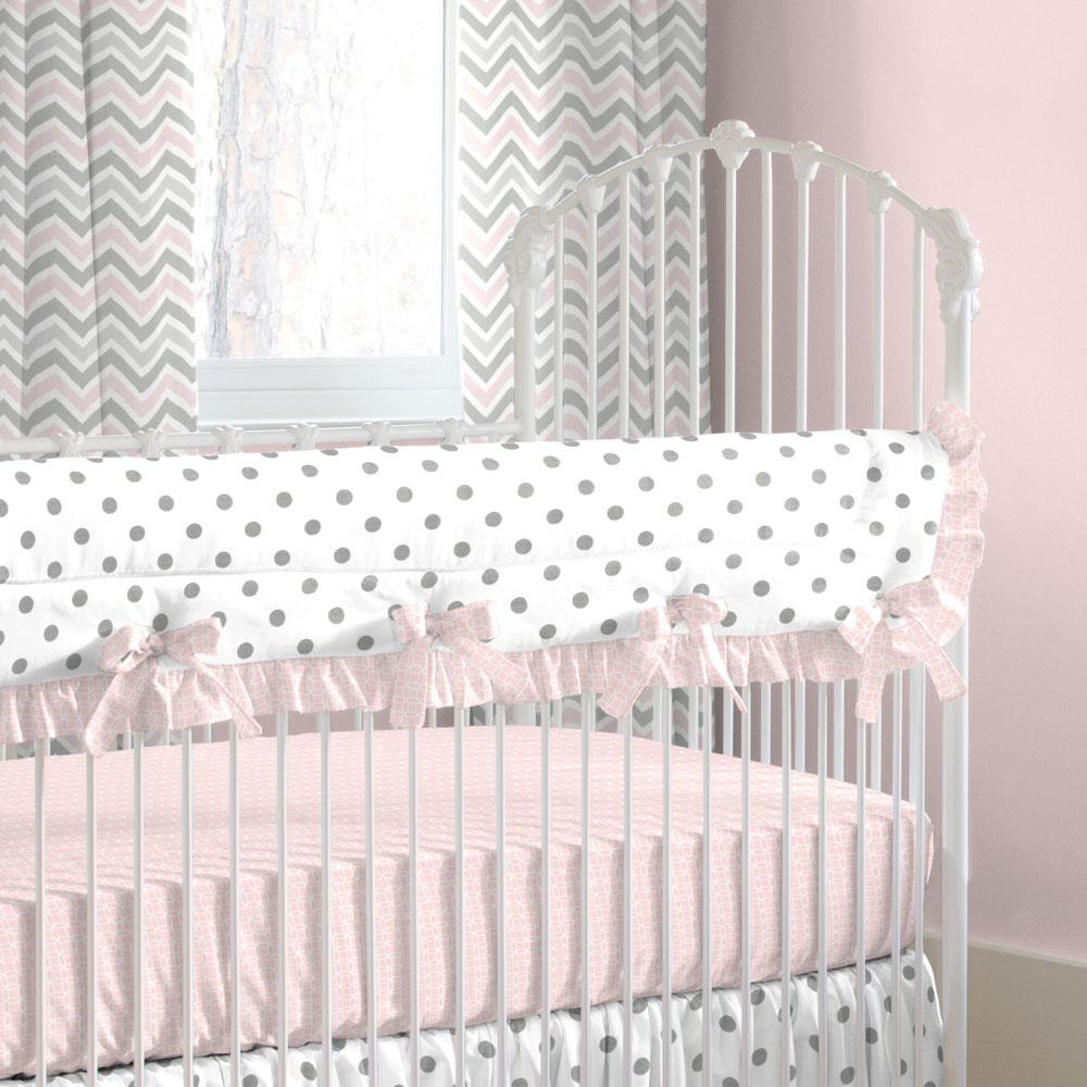 Product image for Pink and Gray Chevron Crib Rail Cover