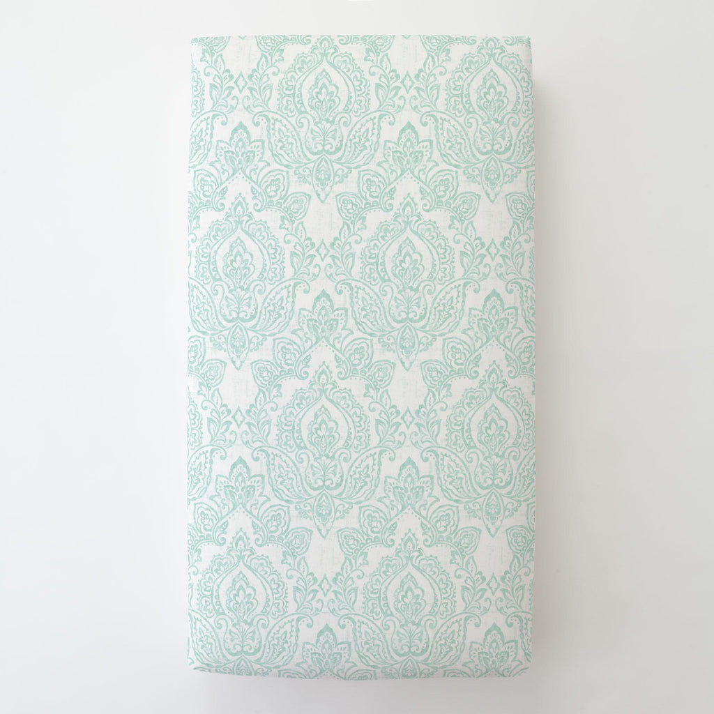 Product image for White and Icy Mint Vintage Damask Toddler Sheet Bottom Fitted