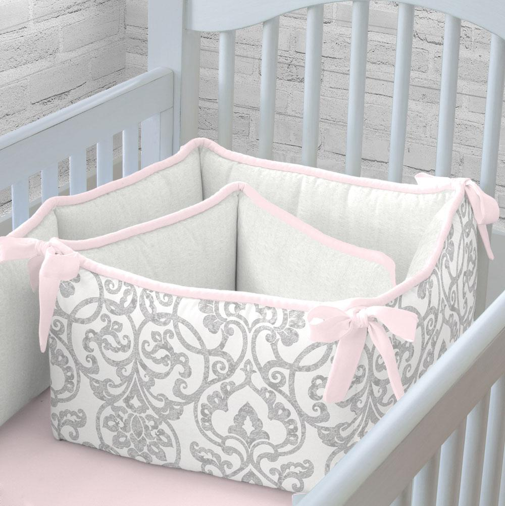 Product image for Gray Filigree Crib Bumper