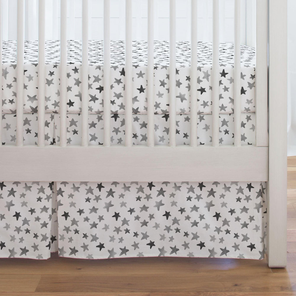 Product image for Gray Watercolor Stars Crib Skirt Single-Pleat