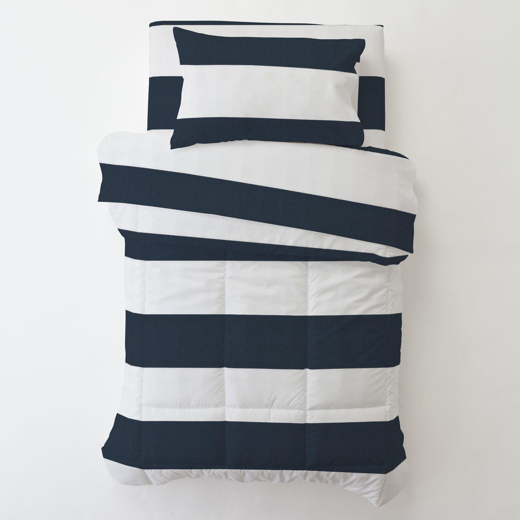 Product image for Navy Horizontal Stripe Toddler Pillow Case with Pillow Insert
