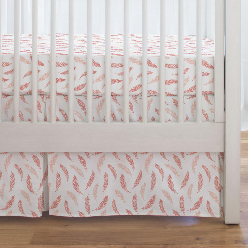 Product image for Light Coral and Peach Hand Drawn Feathers Crib Skirt Single-Pleat