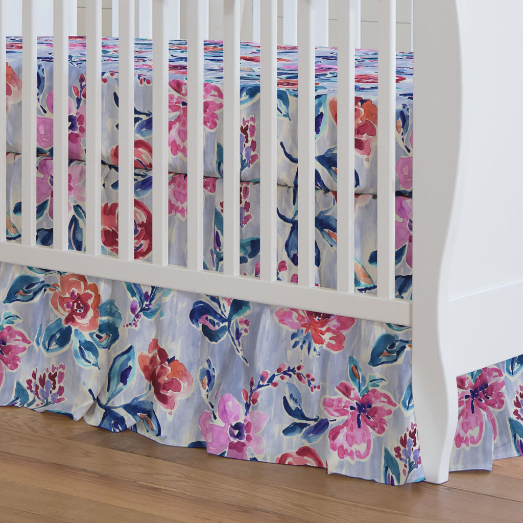 Product image for Pink and Lavender Garden Crib Skirt Gathered