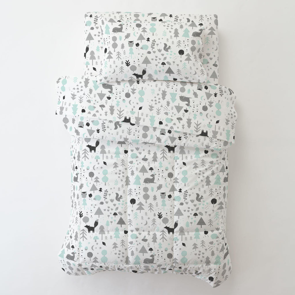 Product image for Icy Mint and Silver Gray Baby Woodland Toddler Pillow Case with Pillow Insert