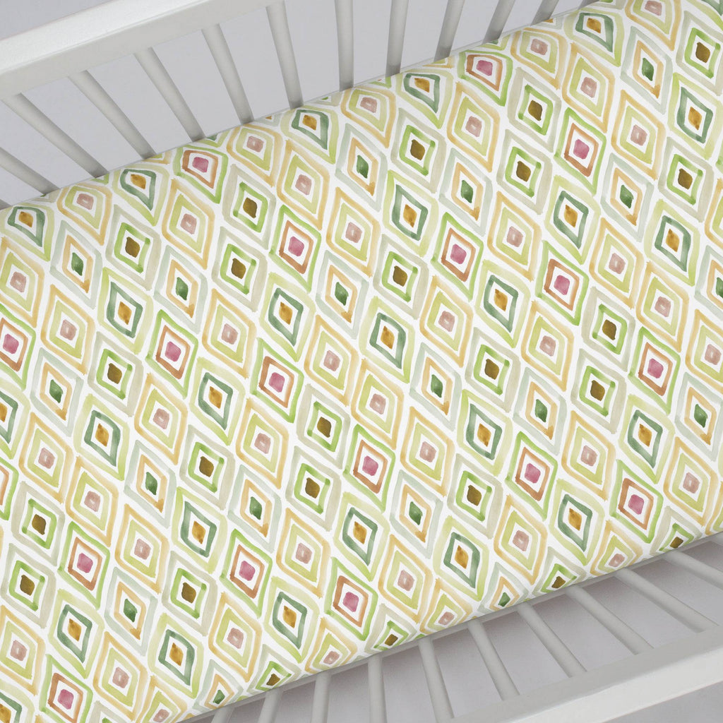 Product image for Green Painted Diamond Crib Sheet