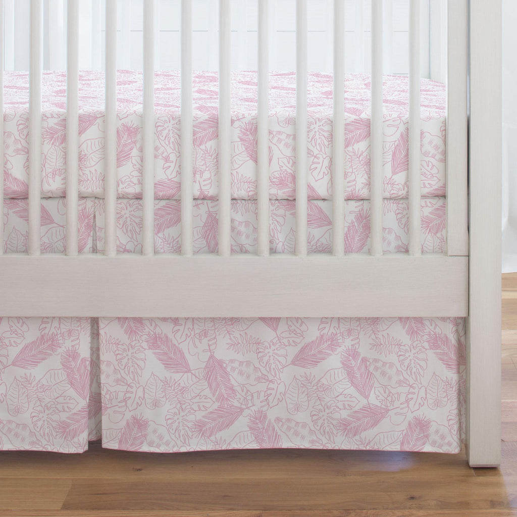 Product image for Bubblegum Palm Leaves Crib Skirt Single-Pleat