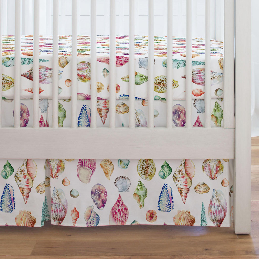 Product image for Watercolor Seashells Crib Skirt Single-Pleat