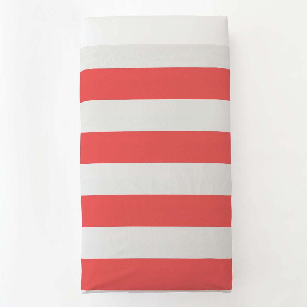 Product image for Coral Horizontal Stripe Toddler Sheet Top Flat