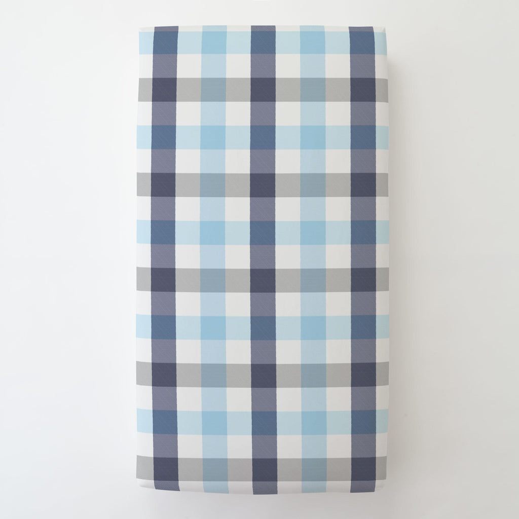 Product image for Navy and Lake Blue Buffalo Check Toddler Sheet Bottom Fitted