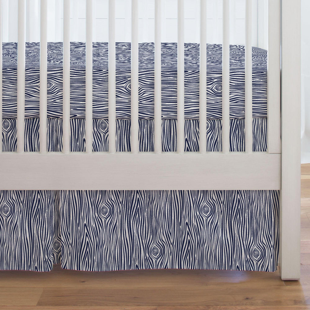 Product image for Navy Woodgrain Crib Skirt Single-Pleat