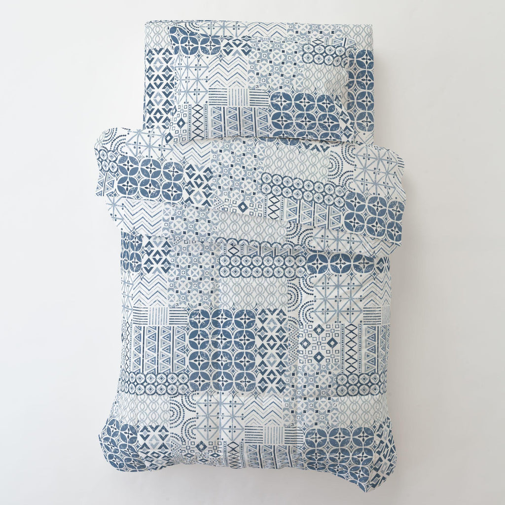 Product image for Denim Patchwork Toddler Pillow Case with Pillow Insert