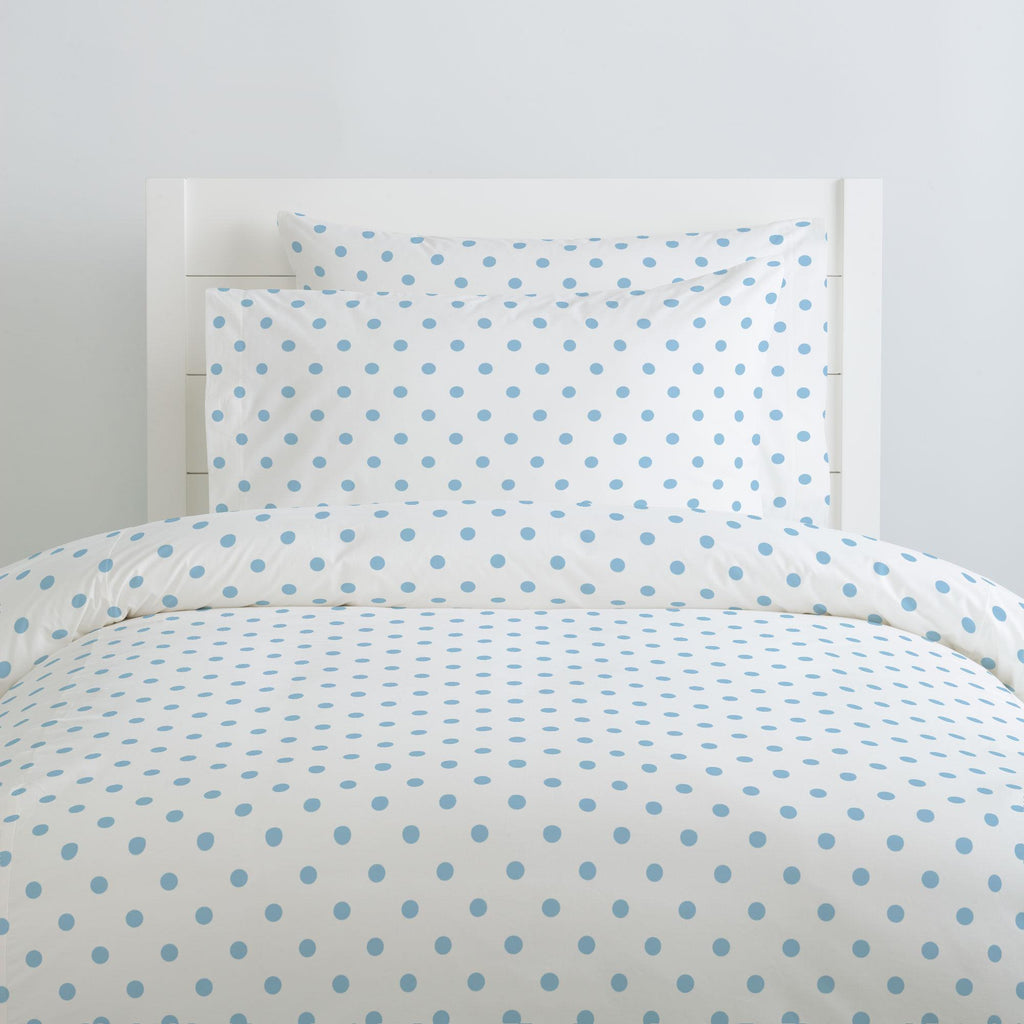 Product image for White and Lake Blue Dot Pillow Case