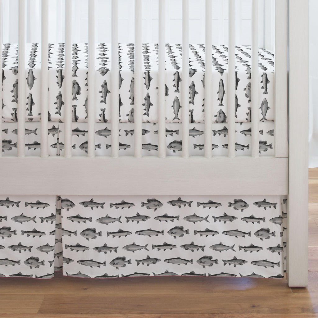 Product image for Gray Fish Crib Skirt Single-Pleat