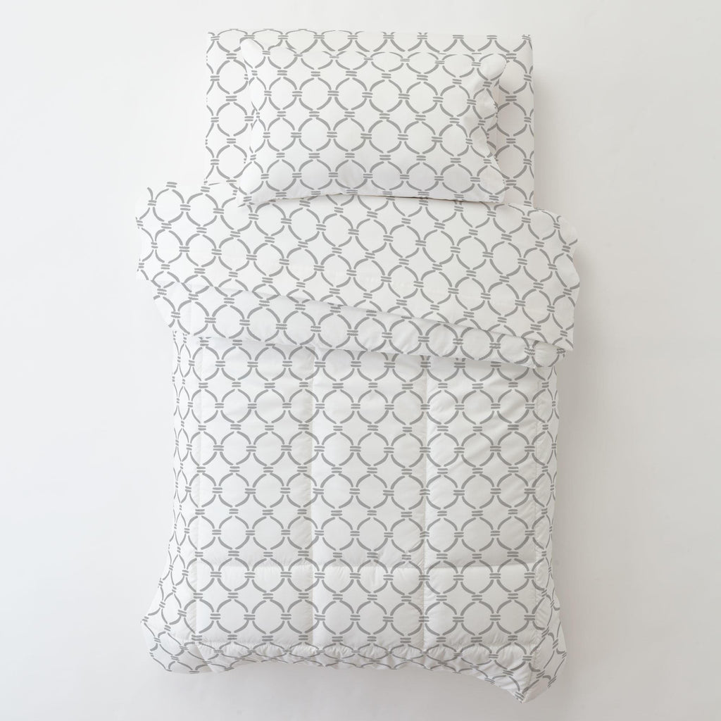 Product image for Silver Gray Lattice Circles Toddler Pillow Case with Pillow Insert