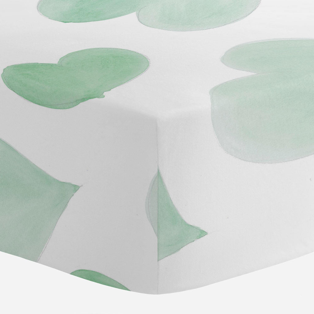 Product image for Mint Watercolor Hearts Mini Crib Sheet